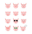 cartoon pig emotions set vector image