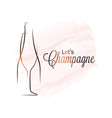 champagne glass watercolor logo bottle on white vector image vector image