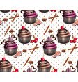 chocolate cupcakes pattern retro vintage vector image