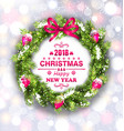 christmas wreath with wishes for happy new year vector image