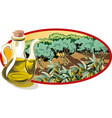 cruet with olive oil and within an oval frame an vector image vector image
