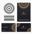 elegant and luxury business card with mandala vector image