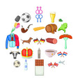 europe icons set cartoon style vector image vector image