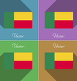 Flags Benin Set of colors flat design and long vector image