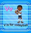 flashcard letter v is for volleyball vector image