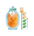 glass jar of honey and melilot flower natural vector image vector image