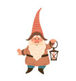 gnome with lantern garden hand drawn cartoon vector image vector image