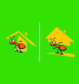 great builder ant with house he built vector image vector image