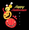 halloween greetings poster with pumpkins vector image