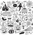 halloween items ornamental style set vector image vector image
