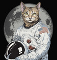 hand drawn funny hipster cat astronaut illu vector image