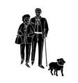 happy couple senior people walking with dog vector image