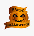 happy halloween pumpkin with ribbon greeting card vector image vector image