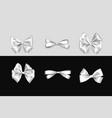 holiday satin gift bow knot ribbon white vector image