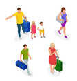 isometric people with travel bag traveling on vector image vector image