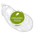 label eggplant fresh natural eco food hand drawn vector image