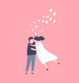 lovely young joyful couple hug on pink background vector image vector image