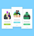mobile app screens with avatar characters vector image vector image
