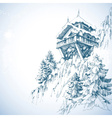 Mountain hut pine tree forest winter landscape vector image vector image