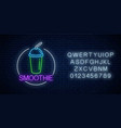 neon glowing sign smoothie in circle frame vector image vector image
