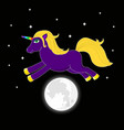night unicorn with multicolored horn jumping over vector image