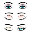 open and closed blue female eyes vector image vector image