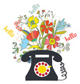 Phone with flowers and hello word - communication vector image vector image