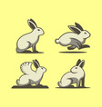 rabbit set emblem template with four different vector image vector image