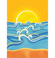seascape vintage poster vector image vector image