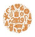 set christmas gingerbread cookies vector image vector image