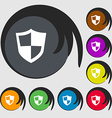 shield icon sign Symbols on eight colored buttons vector image vector image
