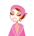 spa facial girl wearing pink bath robe vector image vector image