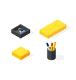 Stationery isometric icons vector image vector image