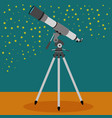 telescope with a sky with stars in background vector image vector image