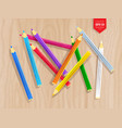 top view of color pencils vector image vector image