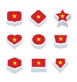 vietnam flags icons and button set nine styles vector image