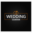wedding rings logo on black background vector image