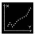 white halftone function plot icon vector image vector image