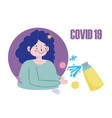 woman cartoon with spray hand disinfectant covid19 vector image vector image