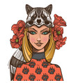 woman with a raccoon mask beautiful girl in a hat vector image vector image