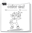 Worksheet with a boy vector image vector image