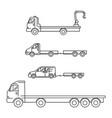 line art transport icons set vector image