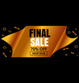 abstract final sale golden banner template vector image vector image