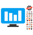 bar chart monitoring icon with valentine bonus vector image vector image