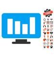 Bar chart monitoring icon with valentine bonus