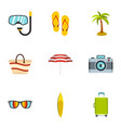 beach icons set flat style vector image vector image
