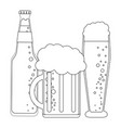 beer bottle and cups in black and white vector image