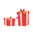 boxes with presents decorated silk tape bow top vector image vector image