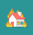 burning house in flat style vector image