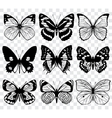 Butterfly silhouettes macro collection vector image vector image